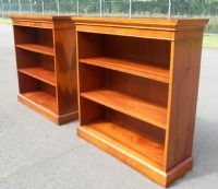Pair Yew Wood Open Bookcases by Bradley